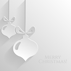White background with flat christmas balls. Vector card.