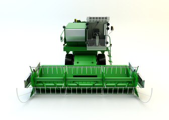 Green agricultural combine-harvester isolated on white