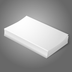 Realistic white blank softcover book. Isolated on grey