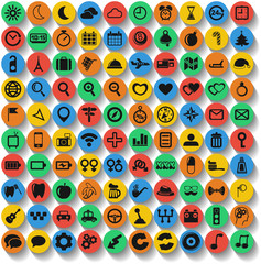 Set of 100 web and mobile icons. Vector.