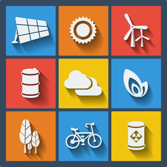 Set of 9 ecology web and mobile icons. Vector.