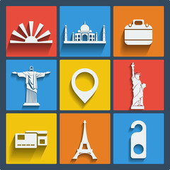 Set of 9 travel web and mobile icons. Vector.