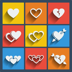 Set of 9 hearts web and mobile icons. Vector.