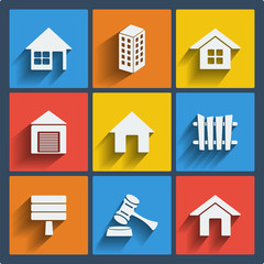 Set of 9 real estate web and mobile icons. Vector.
