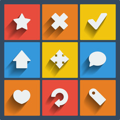 Set of 9 web and mobile icons. Vector.