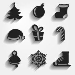 Set of 9 Christmas and New Year icons. Vector.