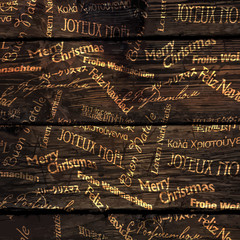 Christmas Words Pattern On Wooden Texture. Vector