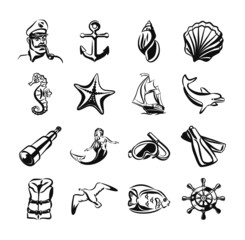 Sea vector black icon set