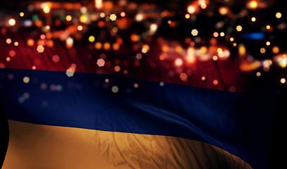 Armenia National Flag Light Night Bokeh Abstract Background