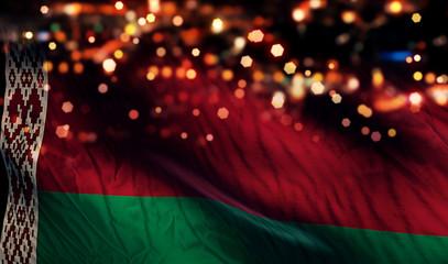 Belarus National Flag Light Night Bokeh Abstract Background