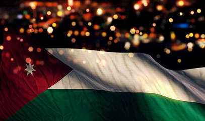 Jordan National Flag Light Night Bokeh Abstract Background