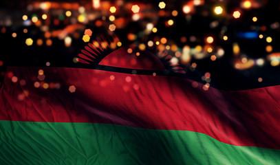 Malawi National Flag Light Night Bokeh Abstract Background
