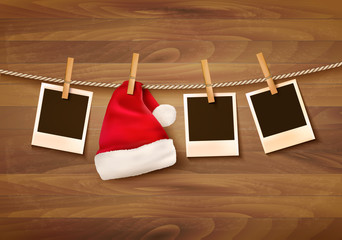 Background with photos and a santa hat. Vector.