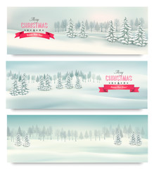 Three christmas landscape banners. Vector.