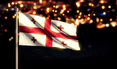 Georgia National Flag City Light Night Bokeh Background 3D