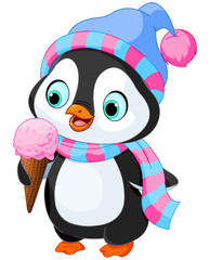 Penguin eats an ice cream