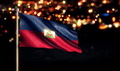 Haiti National Flag City Light Night Bokeh Background 3D