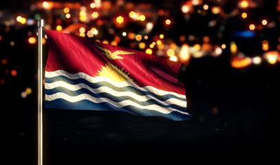 Kiribati National Flag City Light Night Bokeh Background 3D
