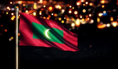 Maldives National Flag City Light Night Bokeh Background 3D