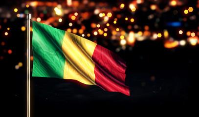 Mali National Flag City Light Night Bokeh Background 3D