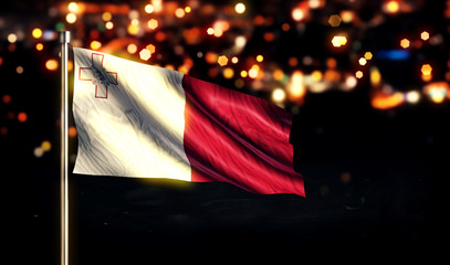 Malta National Flag City Light Night Bokeh Background 3D