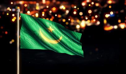 Mauritania National Flag City Light Night Bokeh Background 3D