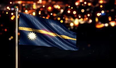 Nauru National Flag City Light Night Bokeh Background 3D