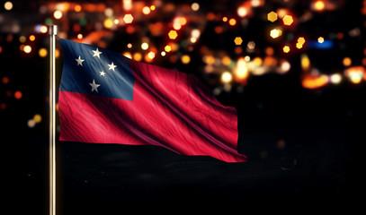 Samoa National Flag City Light Night Bokeh Background 3D