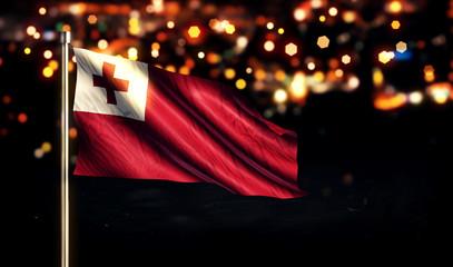 Tonga National Flag City Light Night Bokeh Background 3D