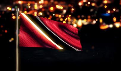 Trinidad and Tobago National Flag City Light Night Bokeh 3D