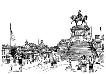 sketch hand drawing of Rome Italy famous cityscape