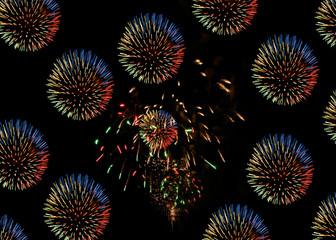 black background wih firework