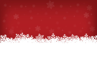 white snowflakes and red background
