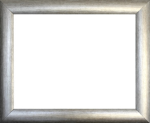 Plain silver  picture frame isolated on white background