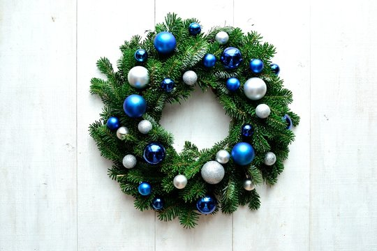 Blue and silver ornament balls Christmas wreath