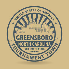 Rubber stamp with name of Greensboro, North Carolina
