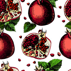 Pattern with pomegranate. Illustrations. Vector.