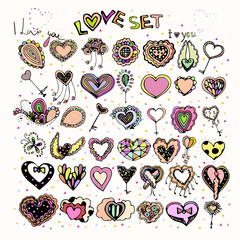bright colorful image of icons with hearts