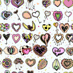 Bright colorful image of icons with hearts.