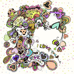 Bright  illustration with colorful hearts.