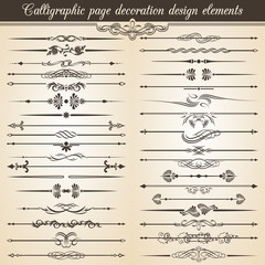 Calligraphic vintage page decoration design elements