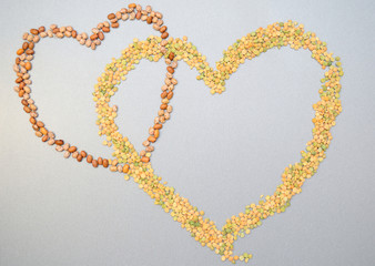 Two hearts of peas and beans