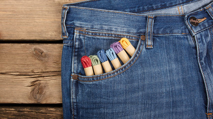 colorful laces on jeans background