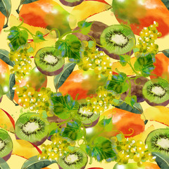 Watercolor fruits texture pattern