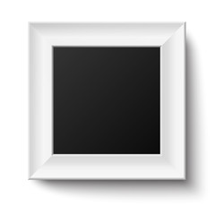 White wooden square frame isolated
