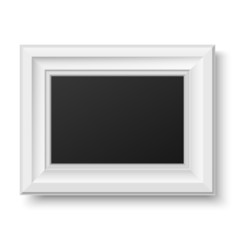 White wooden frame for picture or text. Horizontal.
