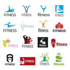 set of vector logos fitness and sports