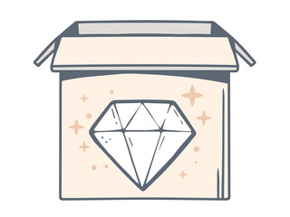 Vector illustration of open box with icon of diamond on white ba