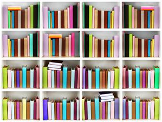 Books on wooden shelves in library