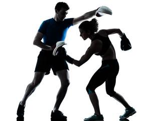 Wall Mural - man woman boxing training silhouette